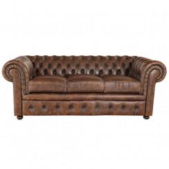 Trojmístná sedačka hnědá antic Chesterfield I Chesterfield Sedací soupravy MHTPCHES10