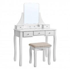 Toaletní stolek se stoličkou Laura II bílý Laura Konzolové stolky MHRDT25WT