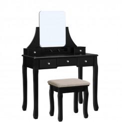 Toaletní stolek se stoličkou Laura II černý Laura Konzolové stolky MHRDT25BK